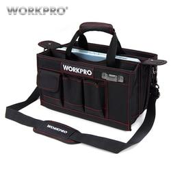 Bolsa de herramientas de hombro de trabajo 600D con bandeja central kits de bolsas de herramientas impermeables bolsillos para bolsas electricanas
