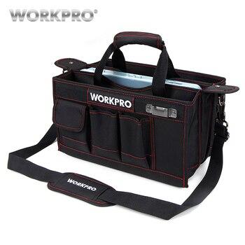 WORKPRO 600D сумка для инструментов на плечо с центральным лотком Водонепроницаемая косметичка для инструментов карманы для электрических сумо...