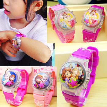 Hot selling Snow White Silicone cartoon luminous watch girl flash childrens Watch kids