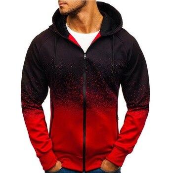 Sudaderas con capucha para hombre de Laamei, sudaderas de lana con capucha de Color degradado estilo Casual Harajuku, cárdigan de otoño, chaqueta de manga larga con cremallera
