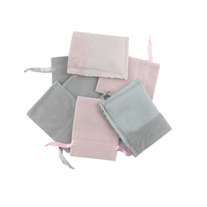 Image 4 - 50pcs Jewelry velvet Ribbon Drawstring Bag 8x10cm Personalized Packaging Chic Grey Pink Velvet Pouch for Wedding Favor Gift Bags