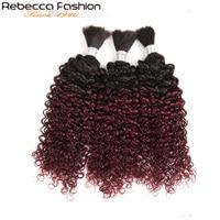 Rebecca Fashion Remy Human Hair Indian Kinky Curly Bulk Hair For Braiding No Weft Braids Hair Bundles Ombre T1B/99J