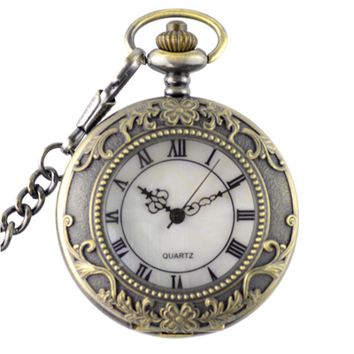Vintage Bronze Roman Numerals Steampunk Pocket Watch Quartz Necklace Pocket & Fob Watches Chain Men Women Clock Pocket&fob Watch