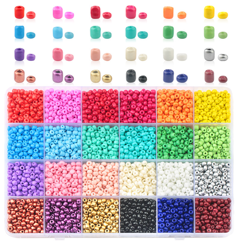 Wholesale 3mm 4mm Glass Seed Beads Czech seed beads round beads For DIY Bracelet Necklace handmade Jewelry Accessories 24 colors