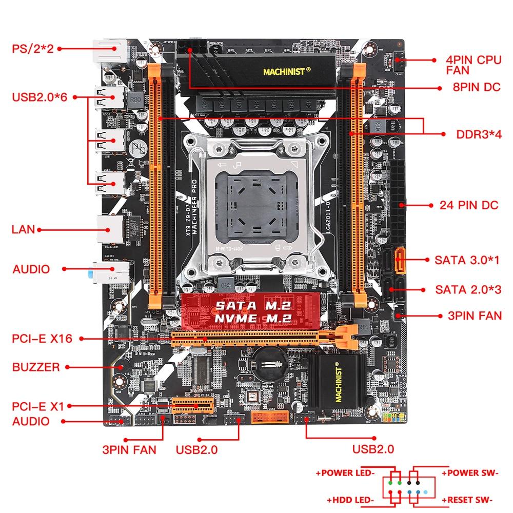 X79 desktop motherboard LGA 2011 set kit with Intel xeon E5 2620 V2 processor and 16G(2*8)DDR3 ECC RAM mainboard x79 Z9-D7 4