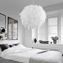 Lámpara colgante de plumas, lámpara romántica de atrapasueños, luz colgante para dormitorio, sala de estar