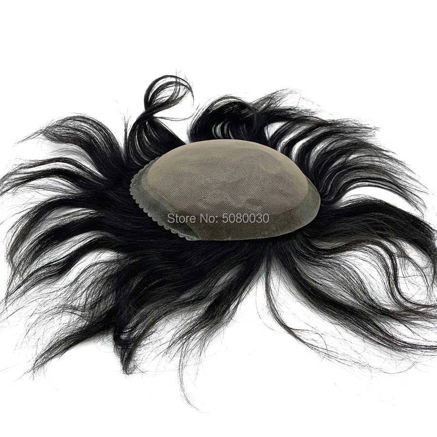 Nuevo estilo personalizado para hombre Peluca de encaje pelo recto