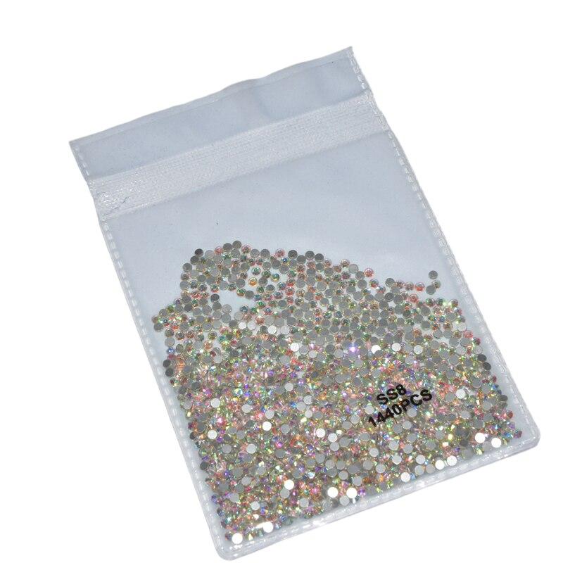 Super Glitter SS3-SS30 Crystal AB Flat Back Non HotFix Rhinestones For Nail 3D Glass Nail Art Decorations Garment Mix Rhinestone