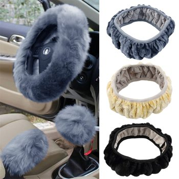 3 pcs/set Charm Warm Long Wool Plush car Steering Wheel Cover woolen Car Handbrake Accessory hot selling image