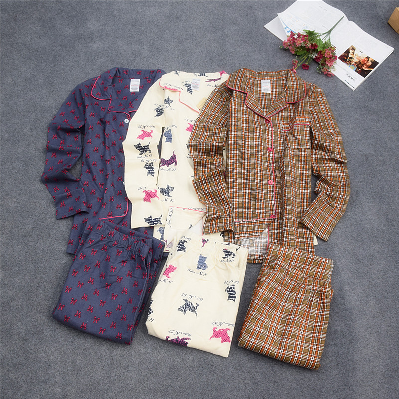 Pajamas for women cotton woven brushed cotton Pajamas set Long sleeve trousers pyjamas Women