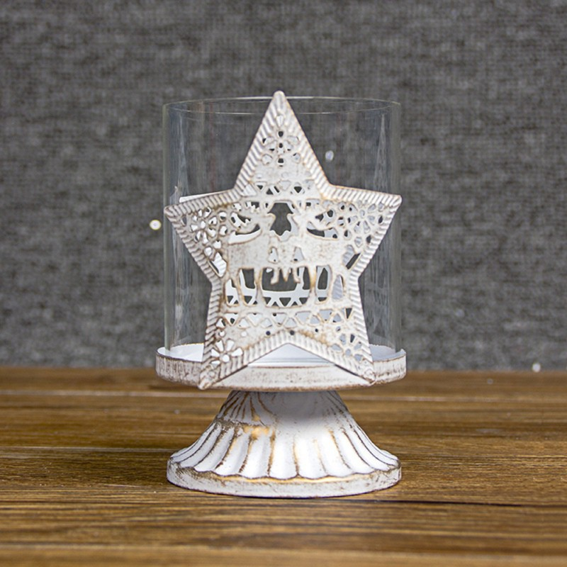 Nordic Style Retro Candlestick Wrought Iron Hollow Candlestick Christmas Decoration For Home Candle Holders in Candle Holders from Home Garden