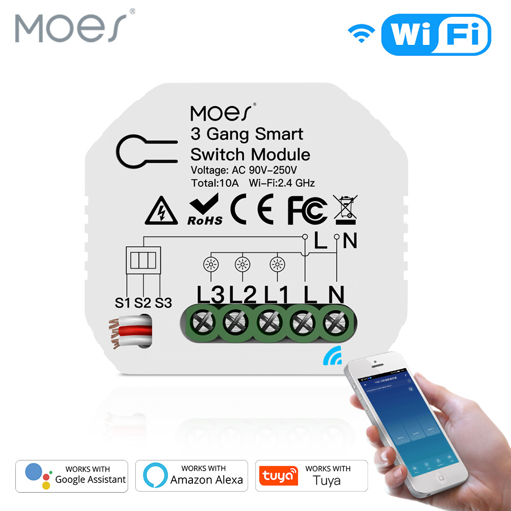 Мини DIY WiFi Smart Light Switch 3 Gang 1/2 Way Module Smart Life/Tuya App Control работает с Amazon Alexa и Google Home
