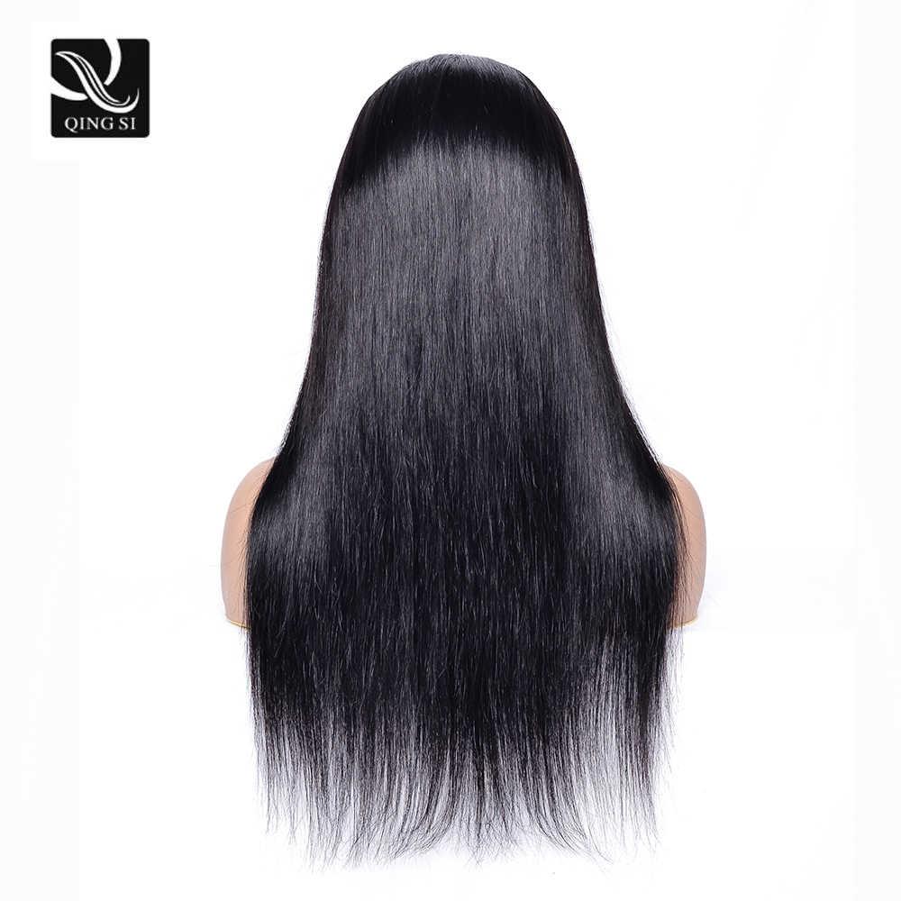Pelucas de cabello lacio Qing SI peluca Frontal de encaje cabello Remy humano brasileño 13*4 encaje Frontal l Pre arrancado con cabello de bebé 150% de densidad