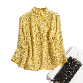 Yellow Print Real Silk Blouse Women 2020 Mandarin Collar  Three Quarter Sleeve Chinese Style Women Summer Shirts and Blouses women s stylish slim three quarter sleeve small suit dark blue l