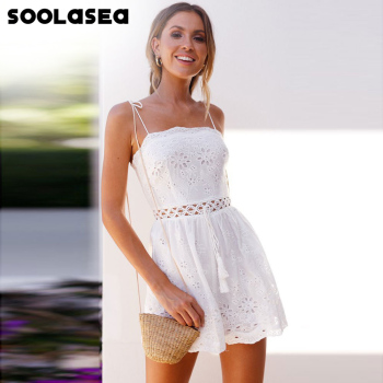 Soolasea 2020 Sexy Deep V-neck White Lace Playsuit Women Strap Jumpsuit Romper Backless Summer Beach Playsuit Jumpsuit Overal