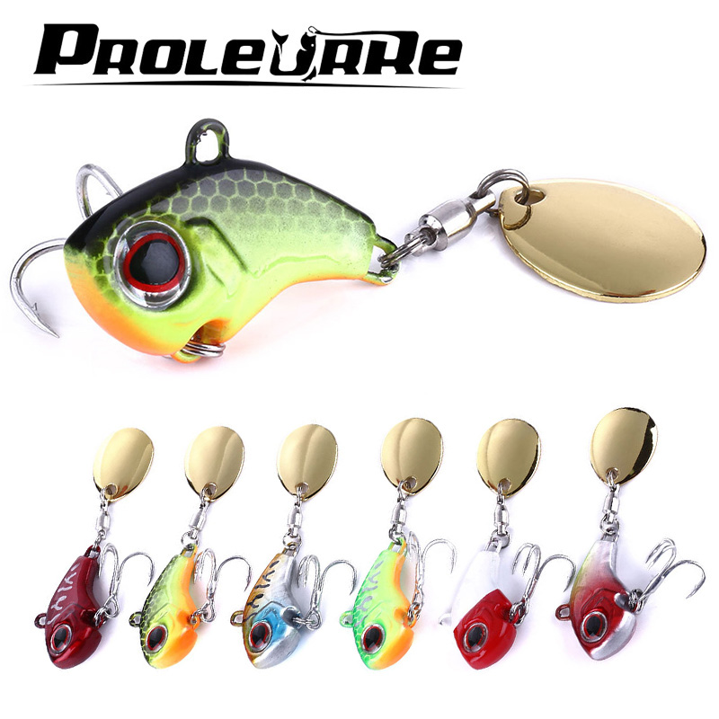 Proleurre 9g 16g 21g Metal VIB With Rotating Spoon Tail Fishing Lure Sinking Lures Fishing Tackle Crankbait Vibration Spinner