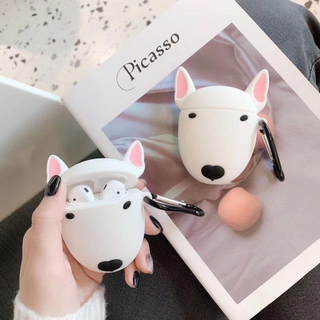 Cute Cartoon Bull Terrier Dog Headphone Case For Apple Airpods Wireless Headset Lovely Puppy Silicone Protection
