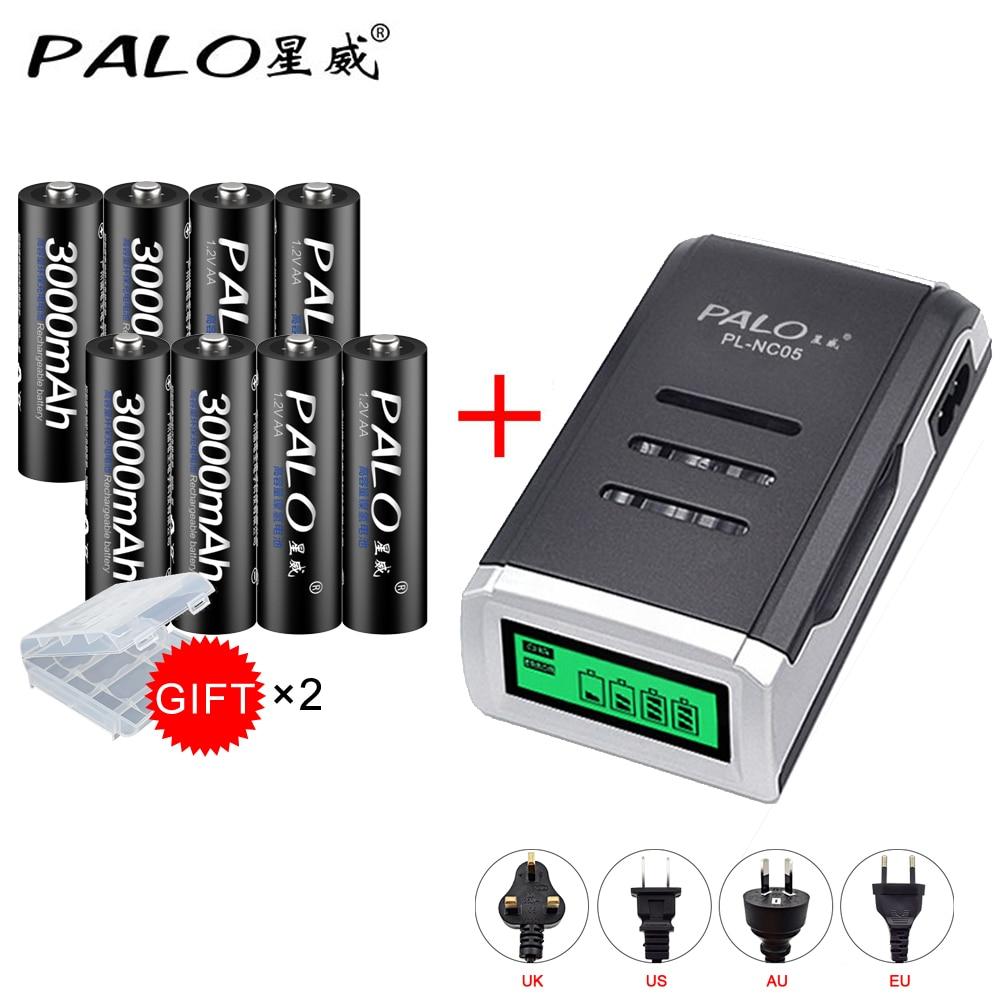 PALO C905W Display LCD Inteligente Inteligente Carregador de Bateria Para AA/AAA NiMh NiCd Baterias Recarregáveis + 8 pcs aa 3000mah Da Bateria