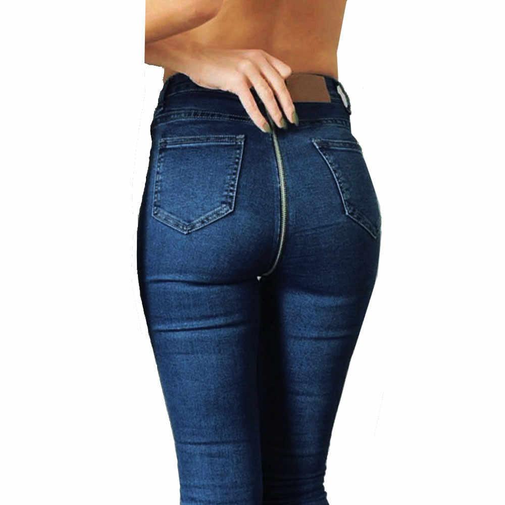 סקסי חזרה רוכסן ארוך ג 'ינס אישה גבוהה מותן למתוח ג' ינס ג 'ינס סקיני עיפרון ג' ינס מכנסיים סקסי מזדמן יומי מכנסיים נקבה