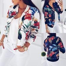 Women Flower Print Bomber Jacket Zipper Vintage Slim Coat Summer chaqueta bomber mujer Fashion Plus Size Short Biker Jackets