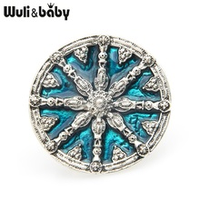 Wuli&baby Blue Black Round Badge Brooches Women Men Alloy Enamel Casual Party Brooch Pins Gifts