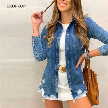 Women Denim Jacket - Vintage Casual Button Coat, Autumn Spring Streetwear Outerwear Women Coats  Cotton Jackets 1