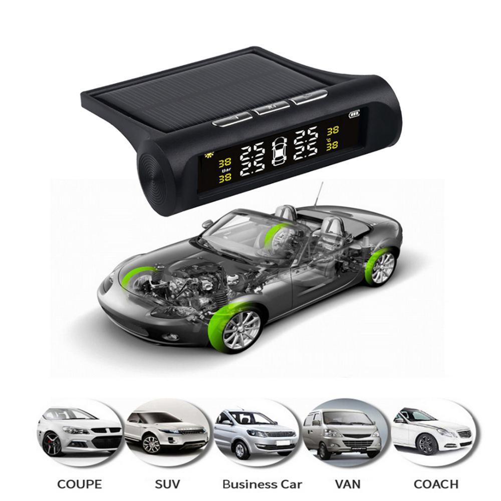 Solar Power TPMS Car Tire Pressure Alarm Monitor System Auto Security Alarm Systems Tyre Pressure Temperat сигнализация для авто