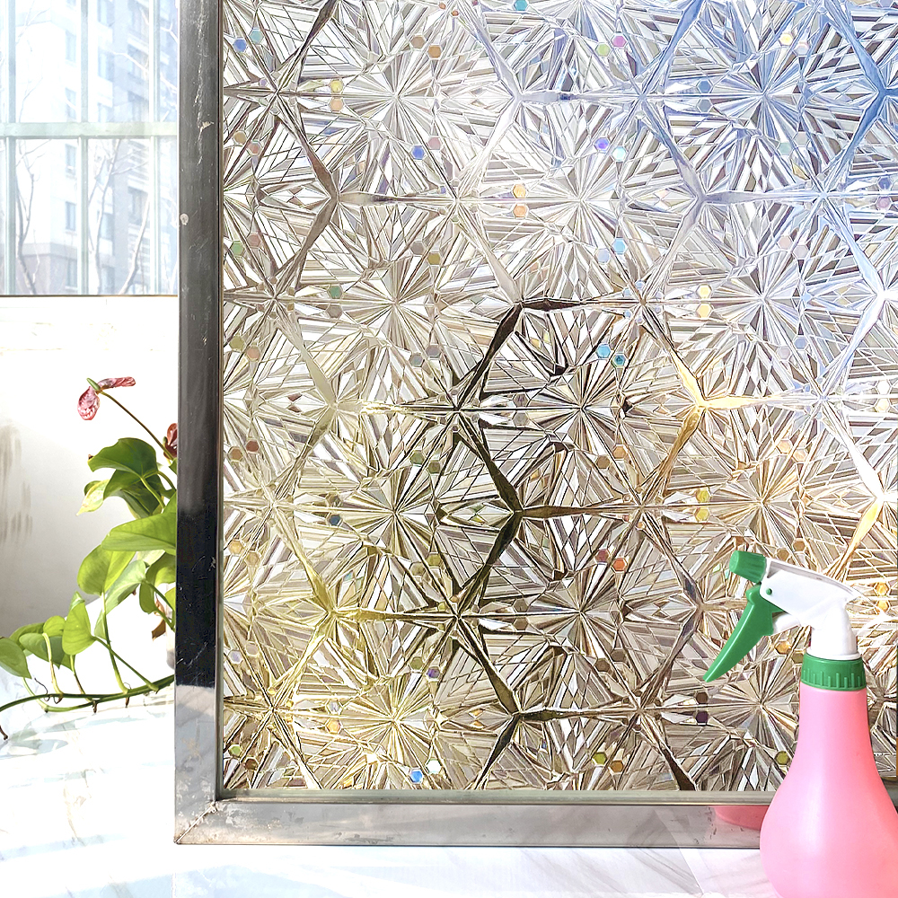 Privacy Stained Window Film Non-Adhesive Frosted Decorative Glass Film Static Cling Rainbow Window Stickers for Home 1