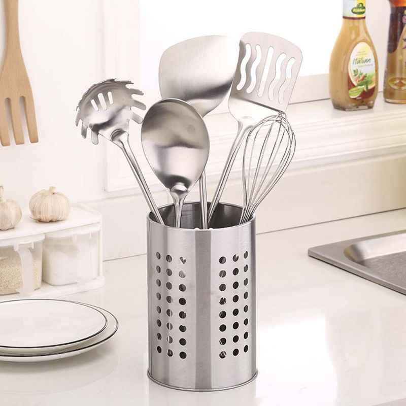 Stainless Steel Kitchen Cooking Utensils Holder Crock Drainer Flatware  Caddy Cutlery Organizer Tableware Storage Serving Tool