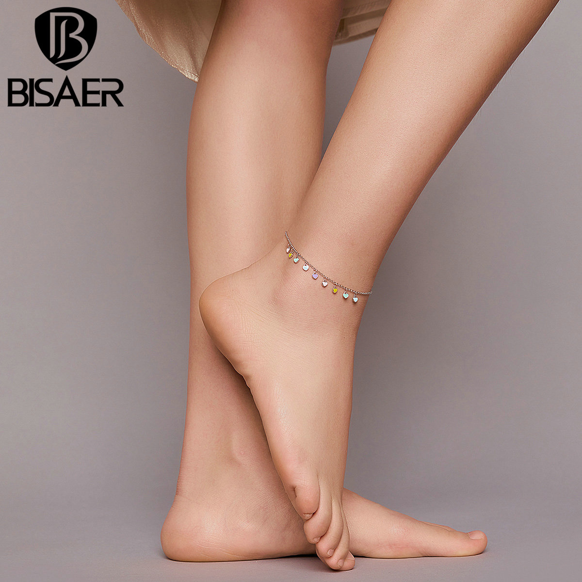 BISAER Rainbow Heart Anklets 925 Sterling Silver Colorful Chain Anklets For Women Feet Leg Chain Link 2020 New Jewelry ECT020