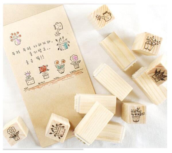 12Pcs/set Mini Flower Pattern Stamp DIY Wooden Rubber Stamps For Scrapbooking Stationery Scrapbooking Standard Stamp
