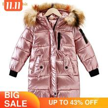 30 Children Winter jacket Clothes Girl Warm waterproof Coat Hooded long down cotton Coats For Kids Outerwear parka clothing