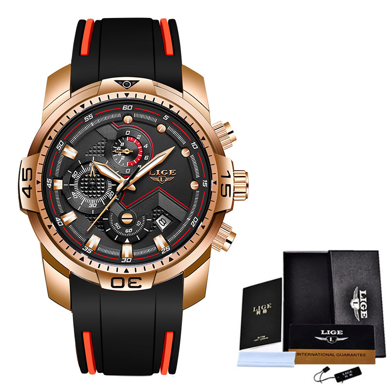 2020 LIGE Sport Watch Men Top Brand Luxury Chronograph Silicone Strap Quartz Mens Watches Waterproof Clock Relogio Masculino+Box 7