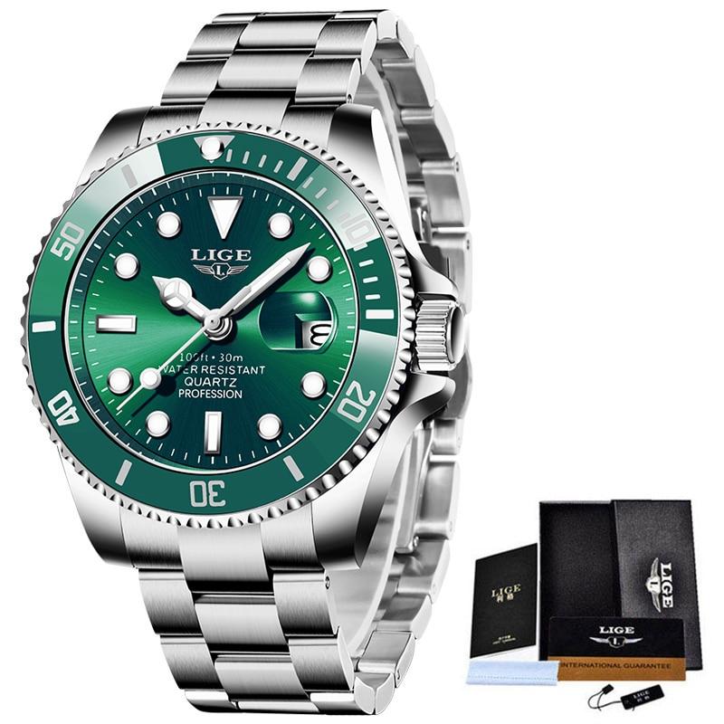 LIGE Top Brand Luxury Fashion Diver Watch Men 30ATM Waterproof Date Clock Sport Watches Mens Quartz Wristwatch Relogio Masculino 6
