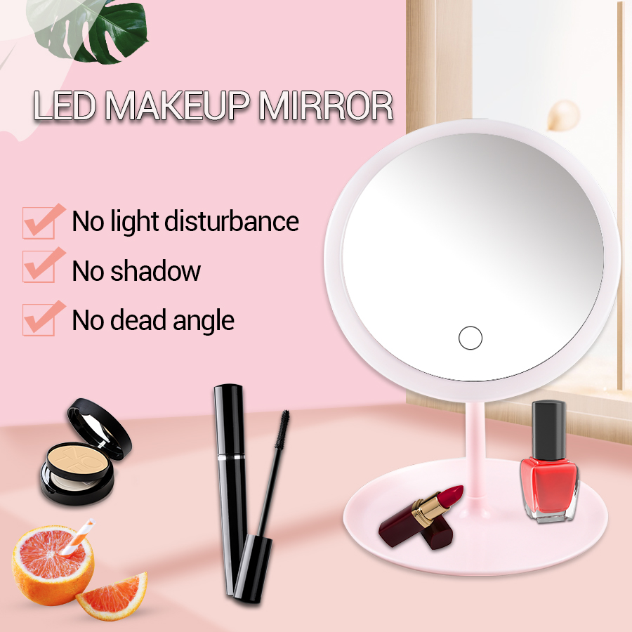 LED Cosmetic Mirror Round Makeup Mirror With Light For Women 3 Modes Touch Screen Make-up Mirror With LED Light  Natural White