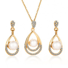 2019 Fashion Bride Wedding Party Simulated-pearl Crystal Water Drop Chokers Necklace/Drop Earrings For Women Jewelry Set WD574 a suit of delicate artificial crystal water drop jewelry necklace and earrings for women