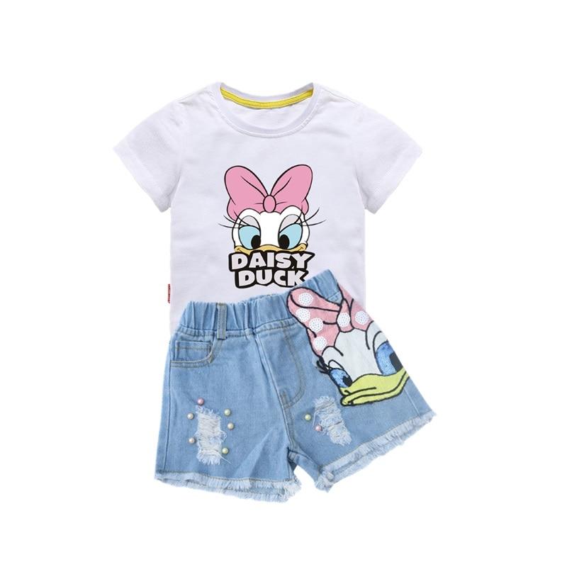 Girls Outfits Cartoon Duck Printed Summer Shirt&Sequins Broken Hole Denim Shorts Toddler Girls Clothing Set Children Clothes 1