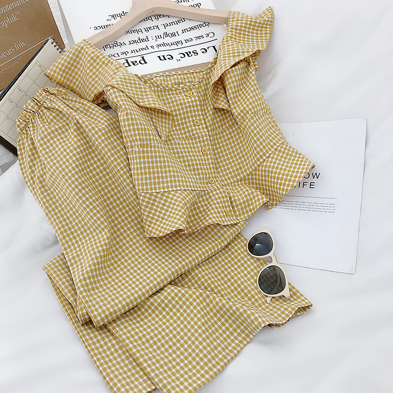Spring And Summer Korean Version Of The Small Fresh Ruffled Round Neck Plaid Vest High Waist Nine Points Wide Leg Pants Suit