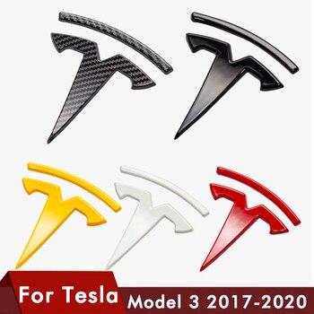 Logo para Tesla model 3, accesorios de logotipo delantero, fibra de carbono Model3 ABS, accesorios adhesivos delanteros traseros para coche, Logo modelo Three 2020