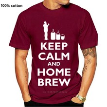 Top manter a calma e casa brew-camisa masculina-cerveja-álcool-brewing mangas curtas o pescoço t camisa topos tshirt homme