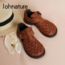 Flat Sandals Women Shoes Genuine-Leather Johnature Buckle-Strap Summer Retro Handmade