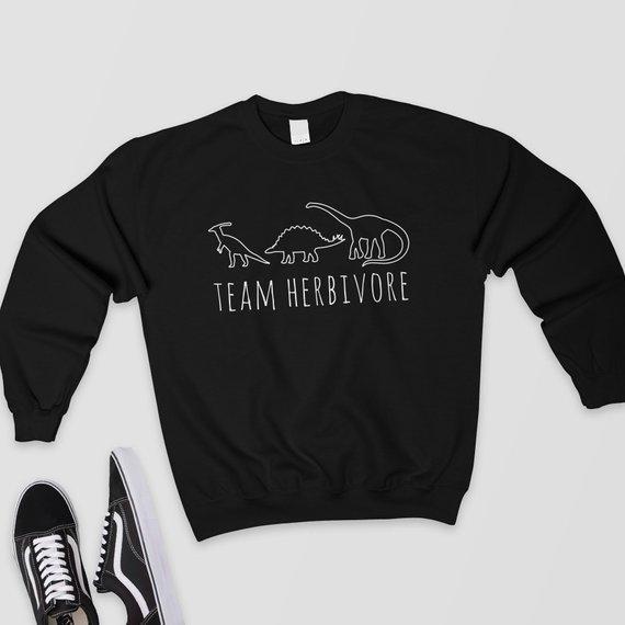 Vegan Jumper Vegetarian Casual Tops Hoodies Herbivore Casual Tops Dinosaur Aesthetic Clothes Fashion Woman Sweatshirt 1