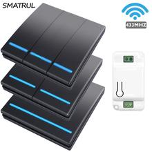 SMATRUL 1/2/3 Gang 433Mhz akıllı itme kablosuz duvar anahtarı işık RF uzaktan kumanda 110V 220V alıcı ev düğmesi tavan lambası