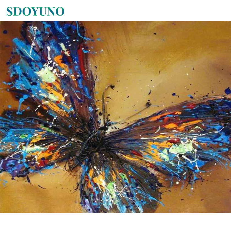 SDOYUNO Painting By Numbers 60x75cm Butterfly DIY Pictures By Numbers Frameless On Canvas For Mordern Wall Art Home Decoration