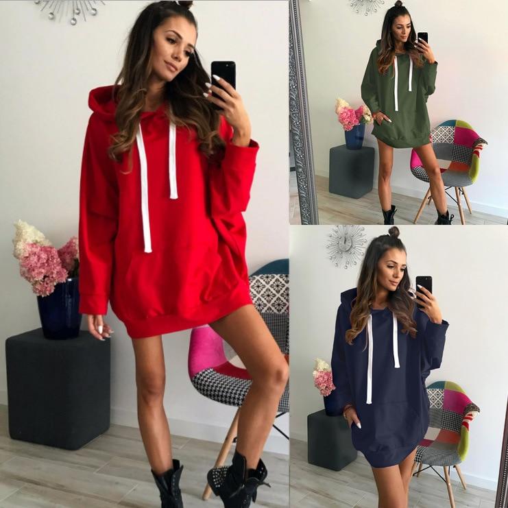 RED Black Long Hoodies Sweatshirt For Women XXL