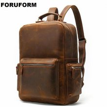 Retro Crazy Horse Genuine Leather Men's Backpack Laptop Bag School Backpack Male Shoulder Bags Coffee Leather Travel Backpack(China)