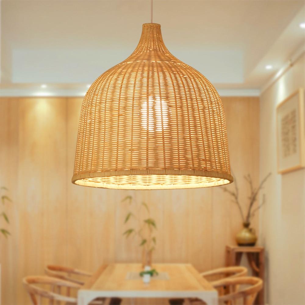 Suspension en rotin tissé à la main style japonais lampe suspendue E27 pour restaurant chambre art rustique lampes industrielles LED créative