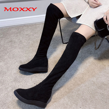 2019 New Overknee Boots Female Winter Warm Thigh High Women Shoes Suede Wedge Heel Long Ladies Woman
