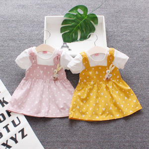 Dot cute children Summer wear Girls Western Style Dresses 0-2 Years Old Princess clothes Baby girls one-piece infant Dress(China)
