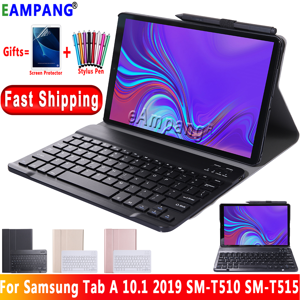 For Samsung Galaxy Tab A 10.1 2019 Keyboard Case T510 T515 SM-T510 SM-T515 English Russian Spanish Bluetooth Keybaord Cover Case